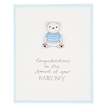 Buy Saffron Blue Striped Teddy New Baby Boy Card Online at johnlewis.com