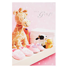 Buy Woodmansterne Baby Toy Giraffe New Baby Girl Greeting Card Online at johnlewis.com