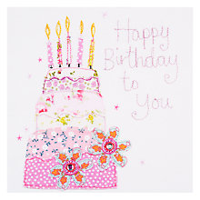 Buy Blue Eyed Sun Vintage Birthday Cake Card Online at johnlewis.com