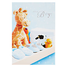 Buy Woodmansterne Baby Toy Giraffe New Baby Boy Greeting Card Online at johnlewis.com