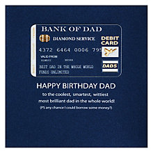 Buy Five Dollar Shake Bank of Dad Birthday Card Online at johnlewis.com