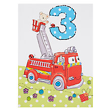 Buy Paperhouse Fire Engine 3rd Birthday Card Online at johnlewis.com