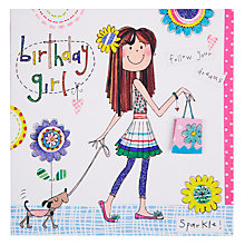 Buy Rachel Ellen Girl And Dog Birthday Card Online at johnlewis.com
