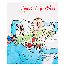 Buy Woodmansterne Dad Having Breakfast In Bed Birthday Card Online at johnlewis.com
