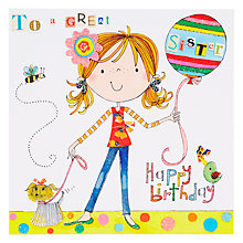 Buy Rachel Ellen Ballloon And Dog Sister Birthday Card Online at johnlewis.com