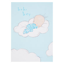 Buy Woodmansterne Sleeping on Fluffy Cloud New Baby Greeting Card Online at johnlewis.com