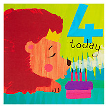 Buy Woodmansterne Lion Blowing Out Candle 4th Birthday Card Online at johnlewis.com