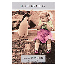 Buy Pigment Little Girl and Penguin on Wall Birthday Card Online at johnlewis.com