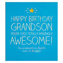 Buy Pigment Grandson 100% Totally Awesome Birthday Card Online at johnlewis.com