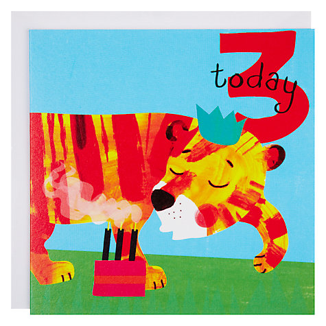 Buy Woodmansterne Tiger Blowing Out Candle 3rd Birthday Card Online at johnlewis.com
