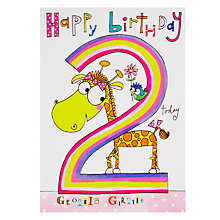 Buy Rachel Ellen Wibbly Wobbly Lane Georgia Giraffe 2nd Birthday Card Online at johnlewis.com
