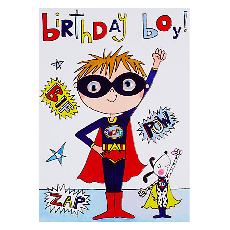 Buy Rachel Ellen Wibbly Wobbly Lane Birthday Boy Super Hero Card Online at johnlewis.com