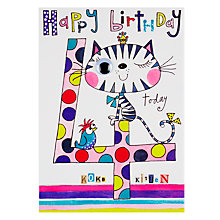 Buy Rachel Ellen Wibbly Wobbly Lane Koko Kitten 4th Birthday Card Online at johnlewis.com