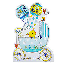 Buy Rachel Ellen Pram and Balloons New Baby Boy Greeting Card Online at johnlewis.com