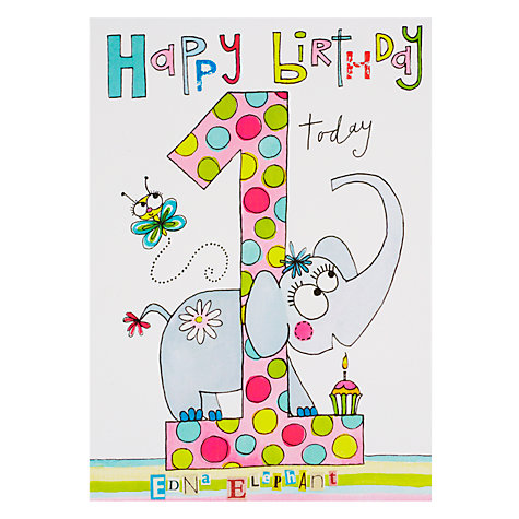 Buy Rachel Ellen Wibbly Wobbly Lane Edna Elephant Birthday Card Online at johnlewis.com