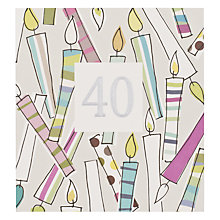 Buy Caroline Gardner 40th Candles Birthday Card Online at johnlewis.com