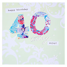 Buy Hotchpotch Happy 40th Birthday Card Online at johnlewis.com