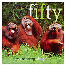 Buy Woodmansterne Three Orangutans 50th Birthday Card Online at johnlewis.com
