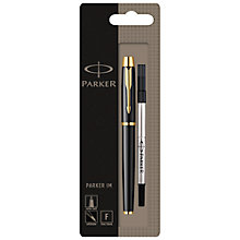 Buy Parker IM Gilt Rollerball Pen, Black Online at johnlewis.com