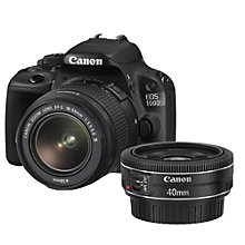 "Buy Canon EOS 100D Digital SLR Camera with 18-55mm Lens & 40mm STM Lens, HD 1080p, 18MP, 3"" LCD Touch Screen with 16GB + 8GB Memory Card Online at johnlewis.com"