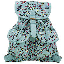 Buy John Lewis Girl Leopard Canvas Backpack, Blue Online at johnlewis.com