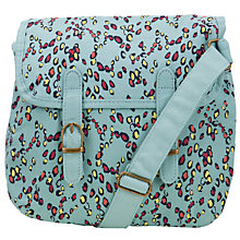 Buy John Lewis Girl Leopard Canvas Satchel, Blue Online at johnlewis.com