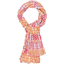 Buy Seasalt Millie Leaf Print Crinkle Scarf, Orange/Fuschia Online at johnlewis.com