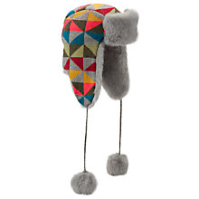 Buy John Lewis Geometric Fairisle Trapper Hat, Grey Multi Online at johnlewis.com