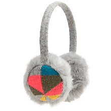 Buy John Lewis Geometric Fairisle Earmuffs, Grey Multi Online at johnlewis.com