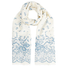 Buy Somerset by Alice Temperley Graded Floral Embroidered Scarf, Blue Online at johnlewis.com