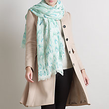Buy John Lewis Wool and Viscose Layered Feather Print Scarf, Blue Online at johnlewis.com