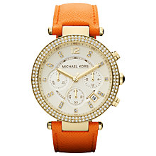 Buy Michael Kors MK2279 Women's Parker Chronograph Watch, Orange Online at johnlewis.com