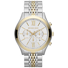 Buy Michael Kors MK8306 Men's Two Tone Steel Chronograph Watch, Silver / Gold Online at johnlewis.com