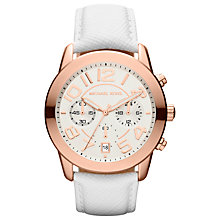 Buy Michael Kors MK2289 Women's Oversized Numeral Chronograph Watch, Rose Gold / White Online at johnlewis.com