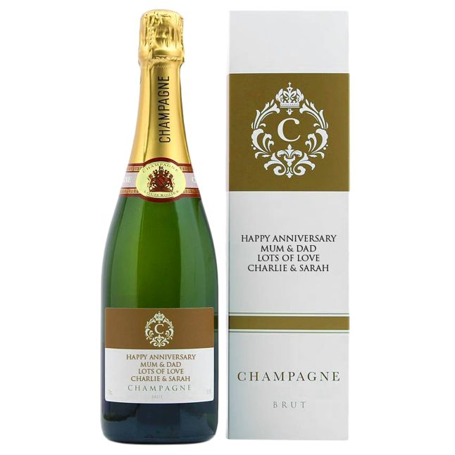 Intervino Personalised Champagne Gift Set, 75cl
