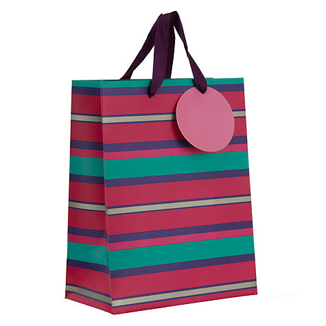 Buy John Lewis Purple Stripe Small Gift Bag Online at johnlewis.com