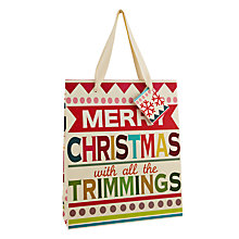 Buy Caroline Gardner Christmas Text Gift Bag, Medium Online at johnlewis.com