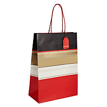 Buy John Lewis Winter Stripe Gift Bag, Large, Red Online at johnlewis.com