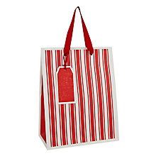 Buy John Lewis Textured Stripe Festive Gift Bag, Small, Red Online at johnlewis.com