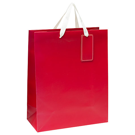 Buy John Lewis Gift Bag, Red, Meduim Online at johnlewis.com
