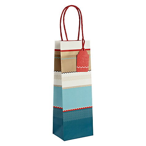 Buy John Lewis Winter Stripe Bottle Bag, Blue Online at johnlewis.com