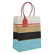 Buy John Lewis Winter Stripe Gift Bag, Medium, Blue Online at johnlewis.com