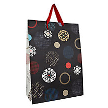 Buy John Lewis Snowflake Spot Gift Bag, Large, Carbon Online at johnlewis.com