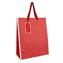 Buy John Lewis Textured Spot Gift Bag, Medium, Red Online at johnlewis.com