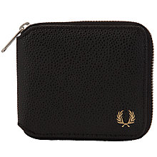 Buy Fred Perry Scotch Grain Zip Around Wallet, Black Online at johnlewis.com