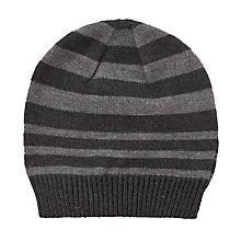 Buy Kin by John Lewis Striped Beanie Hat, One Size, Grey Online at johnlewis.com