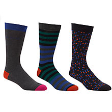 Buy Ted Baker Panbak Pattern Socks, Pack of 3, Charcoal/Multi, One Size Online at johnlewis.com