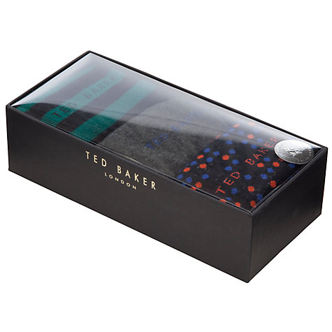 Buy Ted Baker Panbak Pattern Socks, Pack of 3, Charcoal/Multi Online at johnlewis.com