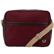 Buy Fred Perry Canvas Shoulder Bag, Burgundy Online at johnlewis.com