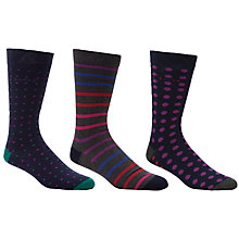Buy Ted Baker Striped and Spotted Socks, Pack of 3, Multi Online at johnlewis.com